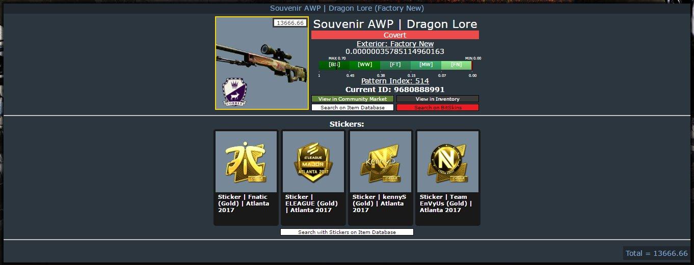 Souvenir awp dragon lore (factory new) скины оружия для cs go купить