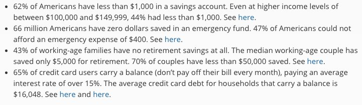 66 million Americans have zero dollars saved in an emergency fund.  https://t.co/gQPTyppc4Q  Great post by @charliebilello https://t.co/wZOmGbUhl7