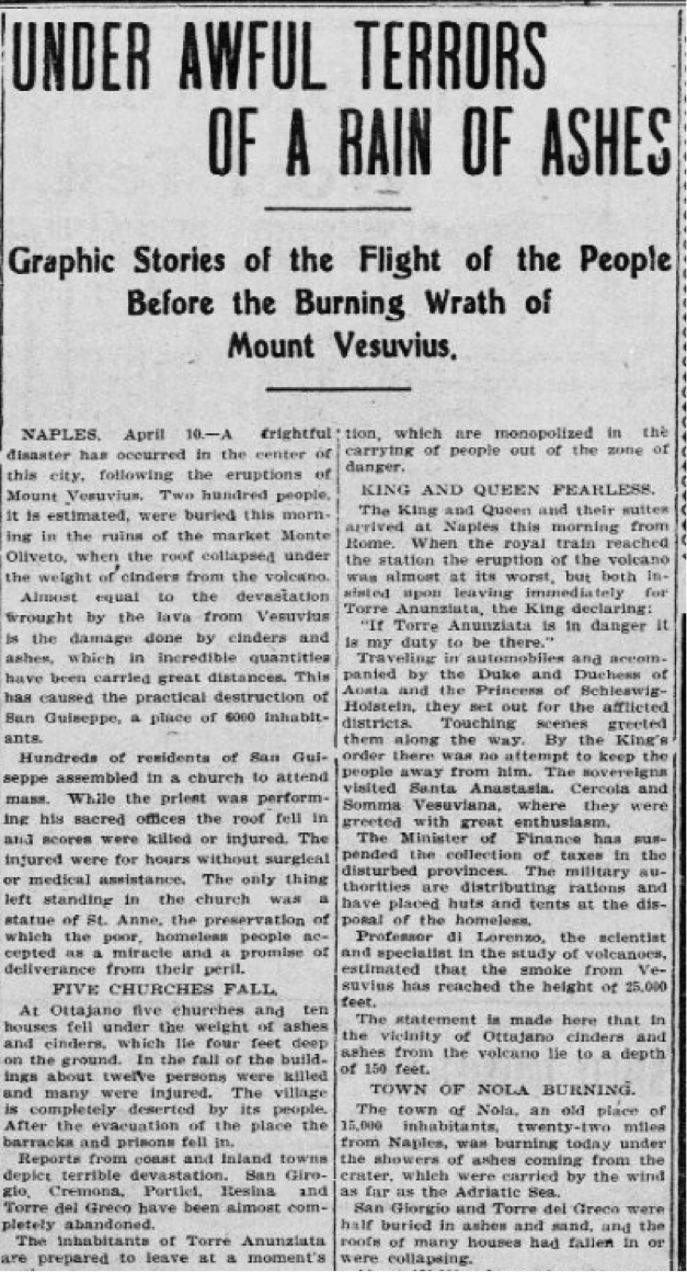 """Under Awful Terrors of a Rain of Ashes"": Mt Vesuvius erupts in Naples, Italy #OTD 1906 https://t.co/5cH0rjnp5y https://t.co/t5PVo2nUyt"