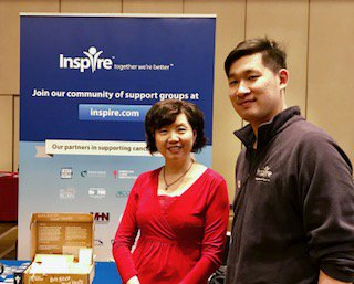 Inspire member Jainee Xiao, left, visits with Inspire's Richard Tsai at the #AACR17 cancer education event today in Washington, DC. https://t.co/RFjtWkxJdT