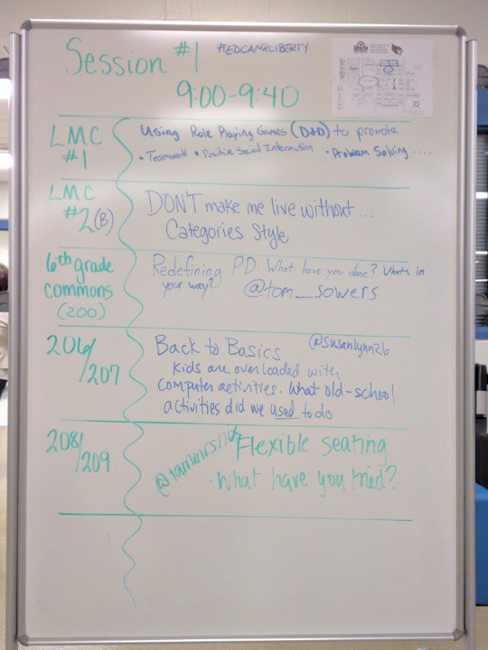 Session 1 schedule #edcampliberty https://t.co/5NKmiXlyHH
