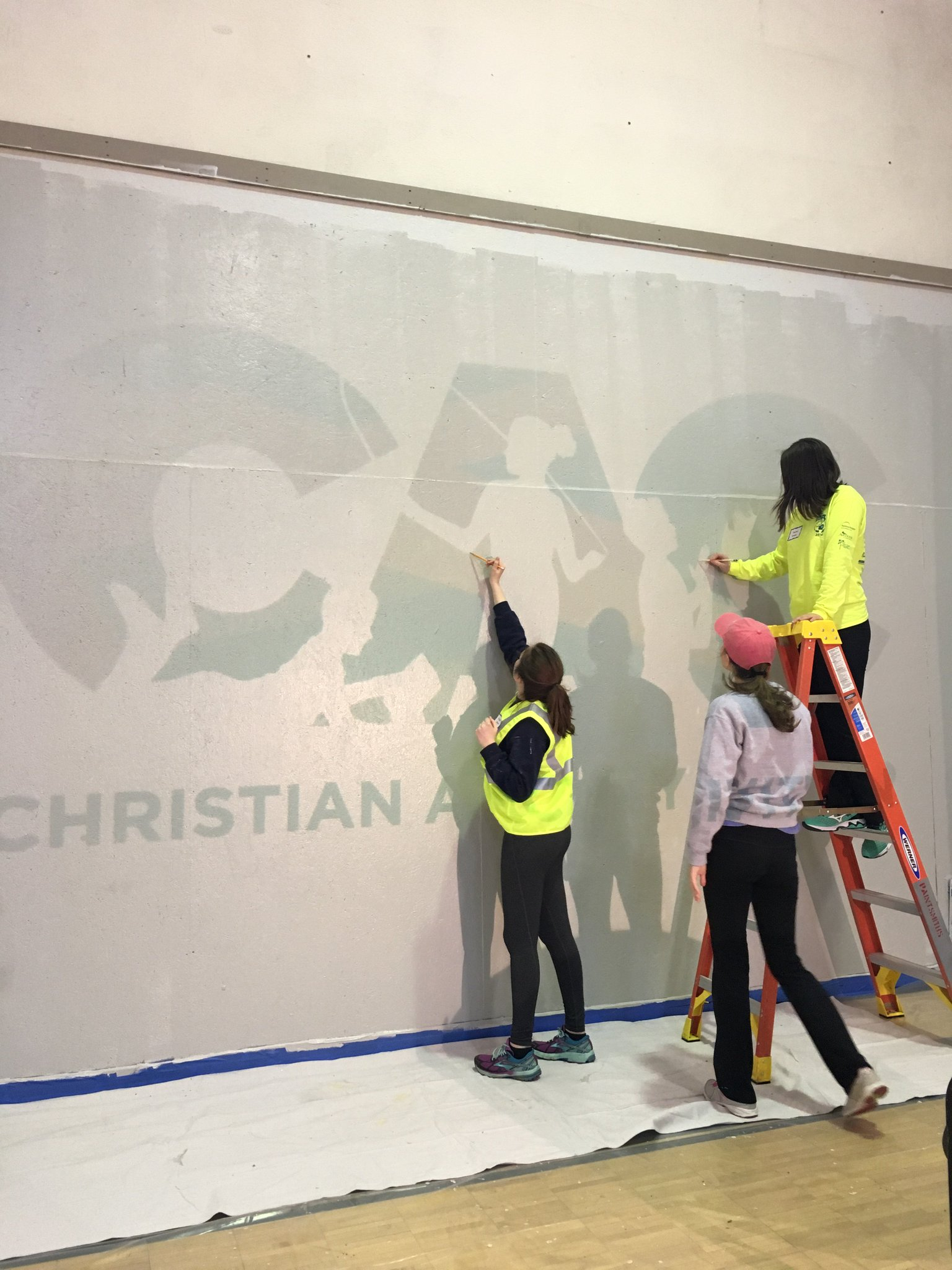 #ServiceDay at the Christian Activity Center! Logo in the gym is getting sketched out! https://t.co/5RIV6YOwDR