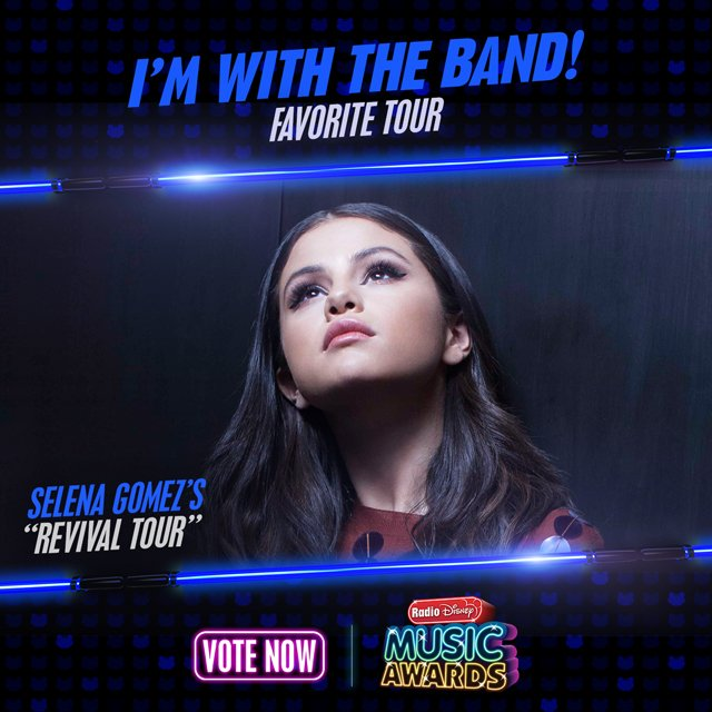 "RT to vote for #SelenaGomez ""Revival Tour"" for #ImWithTheBand! @radiodisney #RDMA @selenagomez"