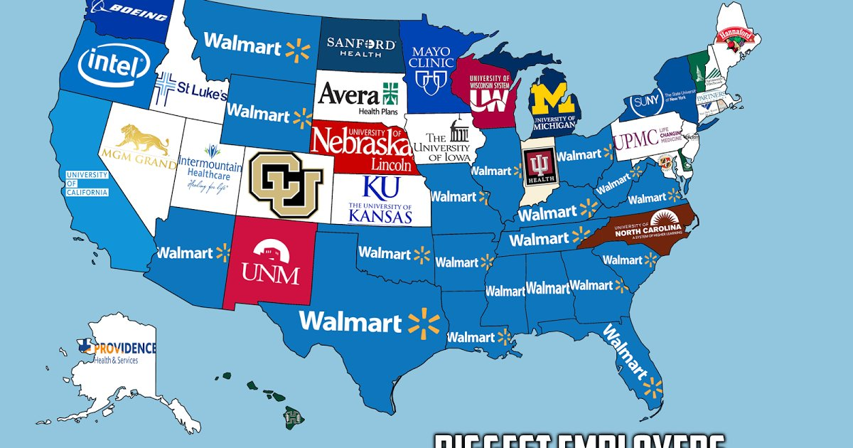Vivid Maps On Twitter The Biggest Employer In Each US State - Us map walmart