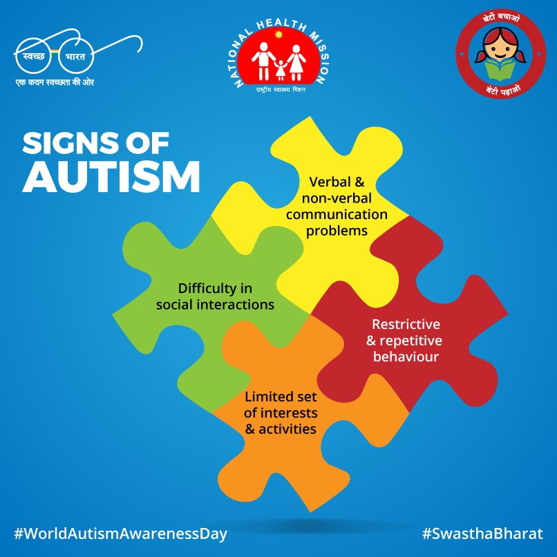 Ministry Of Health On Twitter The First Signs Of Autism Appear Before A Child Is 3 Years Old Worldautismawarenessday Swasthabharat