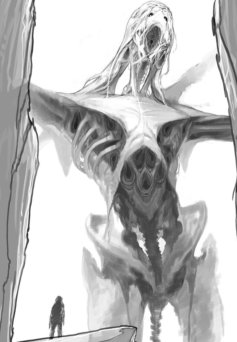 生存確認しろと知り合いに言われていましたので下書き途中ですが。内骨格と外骨格をごっちゃにした感じにしてみたいなとかいう方向ですが。これ地味にまだまだ先が長くて・・・。誰得な絵なのにやってる自分ですら段々面倒くさくなってきたァ https://t.co/52OuPQ3ihl