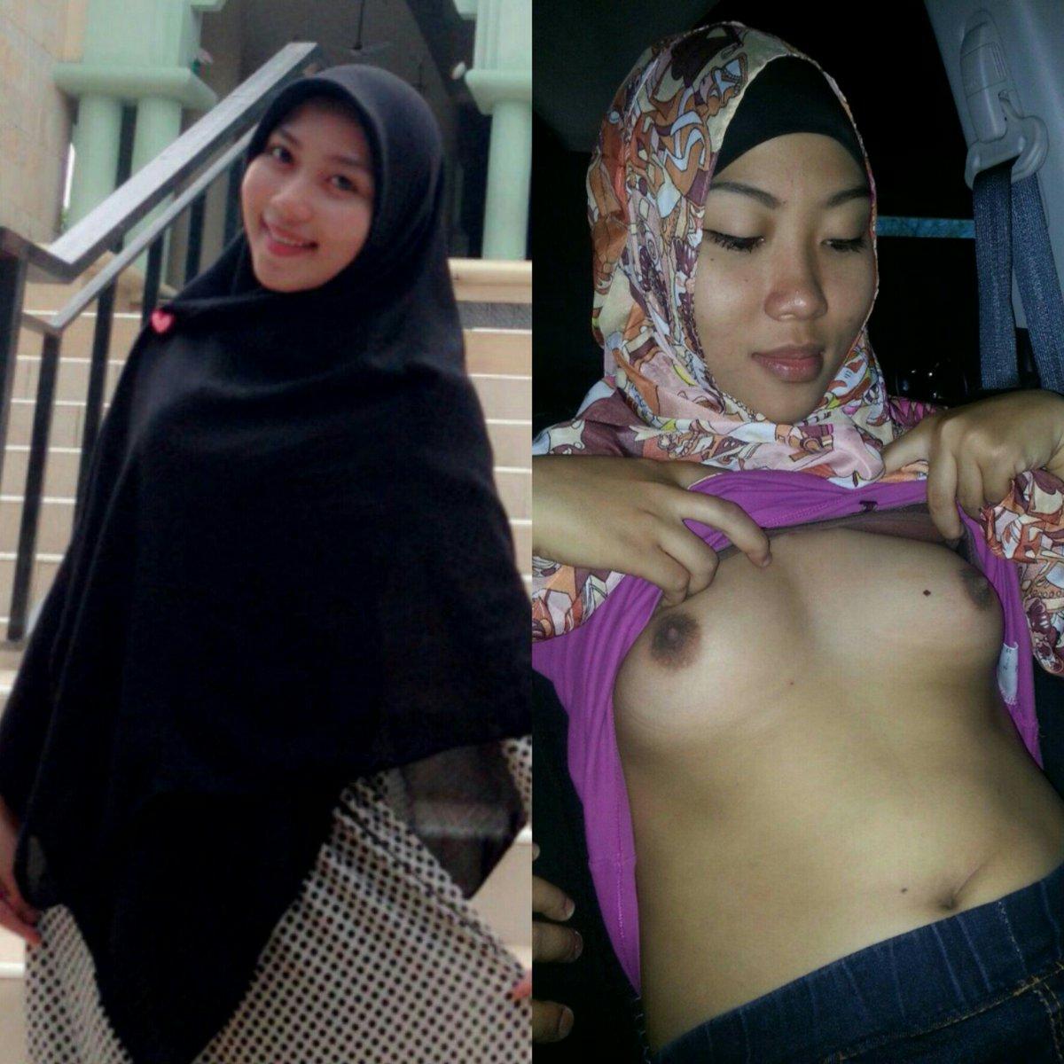 Tudung showing tits
