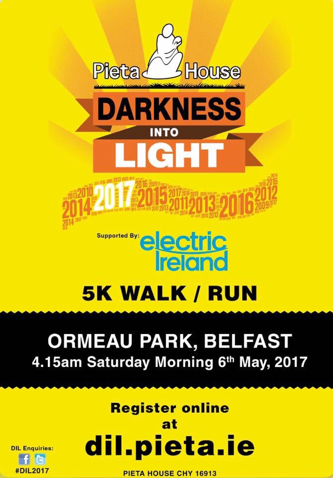 Sign up today! #darknessintolight #suicideawareness #fundraising #5km #Belfast #ormeaupark  @PietaHouse<br>http://pic.twitter.com/sJf2i5WHBE