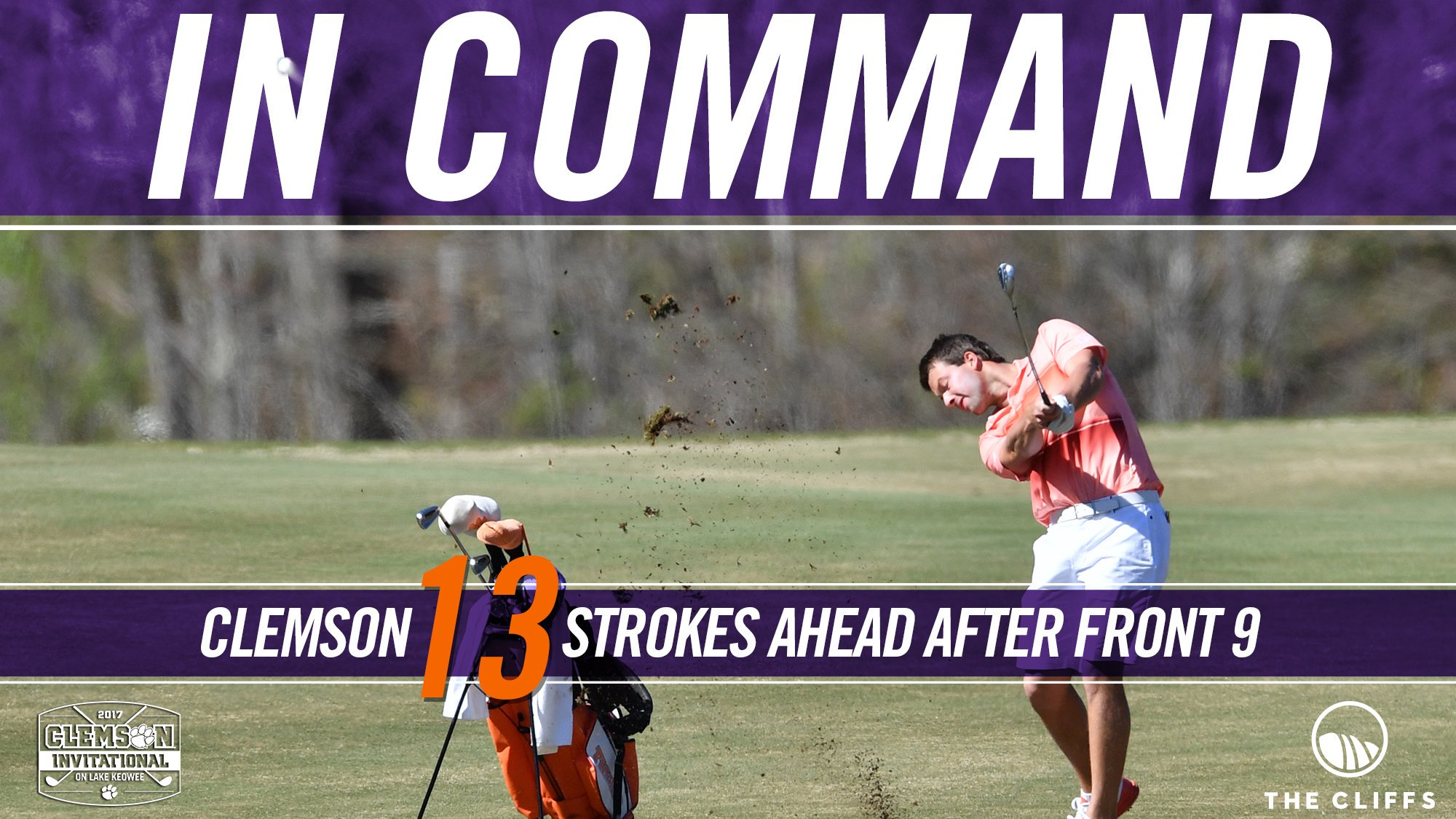 Collected and In Command  Tigers finish the Front 9 with a 13 stroke lead 👏 #ClemsonInvitational  LIVE STATS: https://t.co/zQjxP6fEmW https://t.co/Bhux1piYQ3