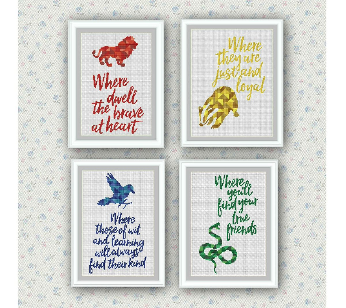 Elcrossstitch On Twitter Set Of 4 Quoteshogwarts Houses Cross