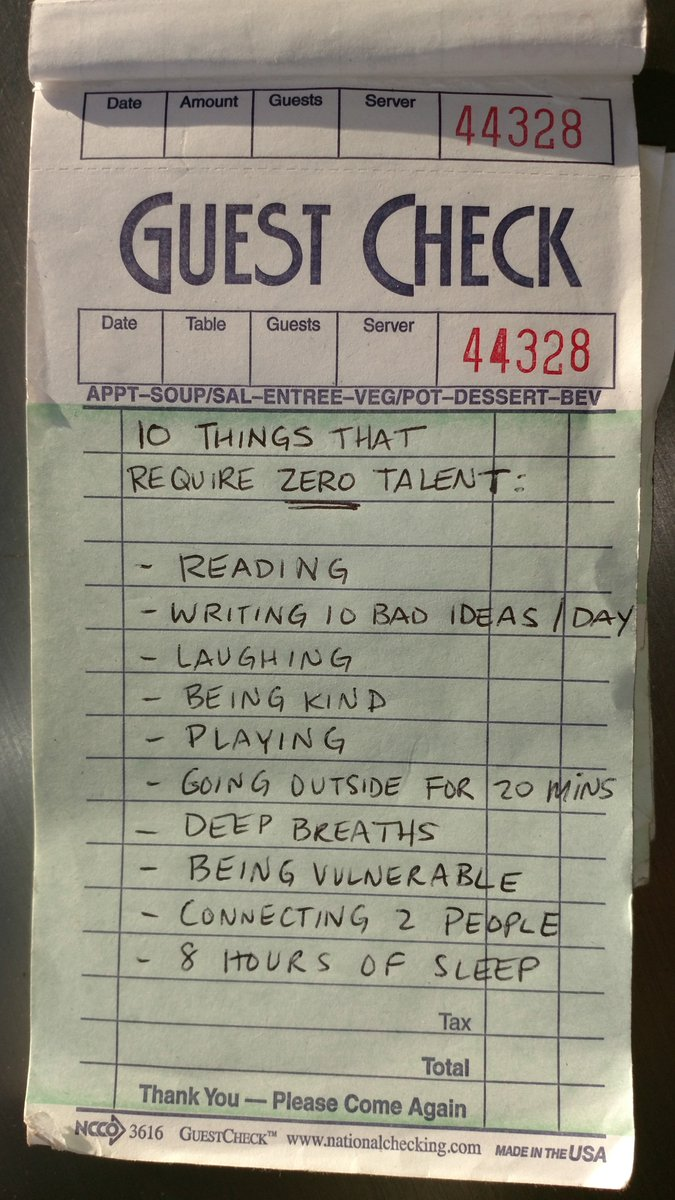 10 things you can do every day with ZERO talent https://t.co/04AkkBv437