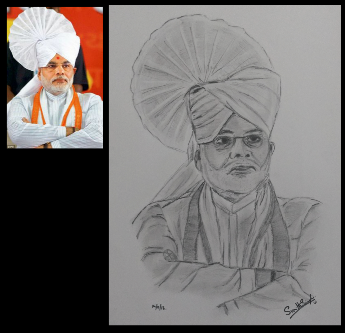 Sumith singala on twitter pencil sketch of pm modi