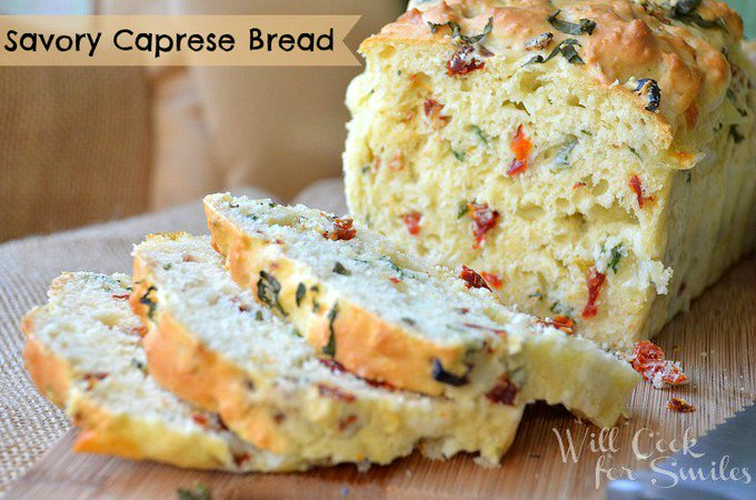 Easy, NO-Yeast, Savory Caprese Bread. Full recipe on willcookforsmiles.com