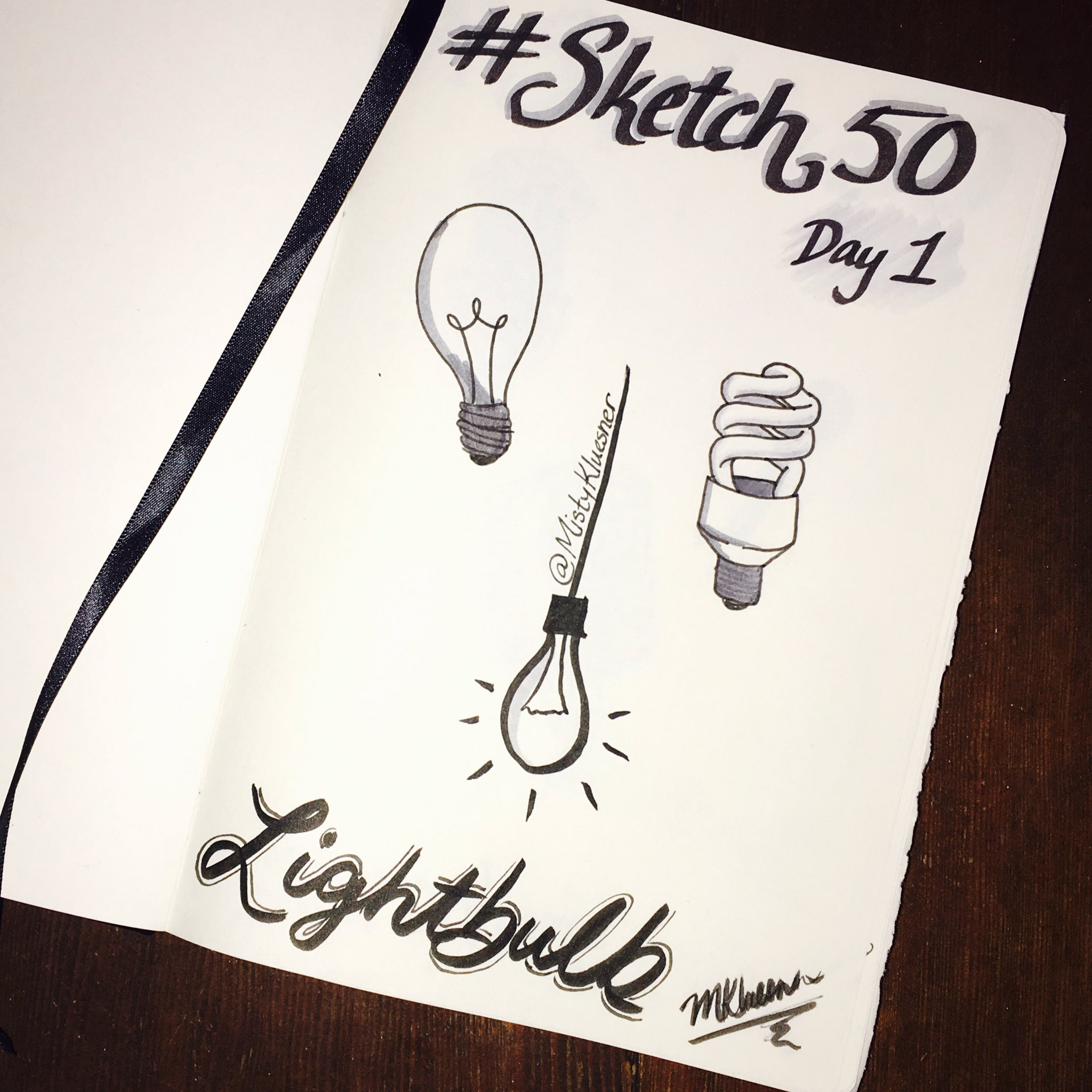 Got a new book & pens for #sketch50 so decided to restart w/ Day 1: lightbulb. Personal challenge: work in grayscale only. #GrowthMindset https://t.co/uc4EqCJSKr