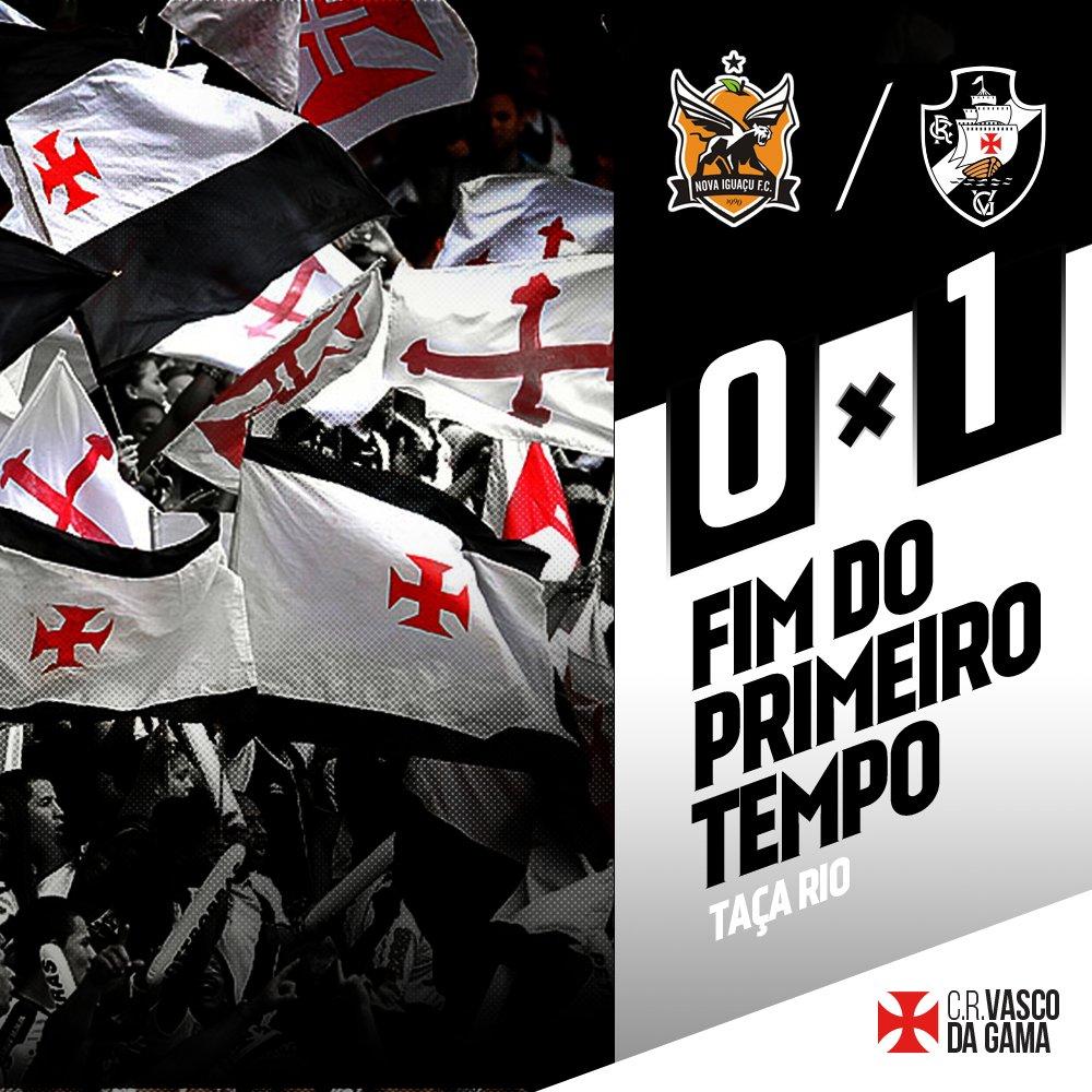 Fim de primeiro tempo no Estádio de Moça Bonita. Com gol de Rafael Marques, Vasco vai vencendo o Nova Iguaçu por 1 a 0. #NIGxVAS