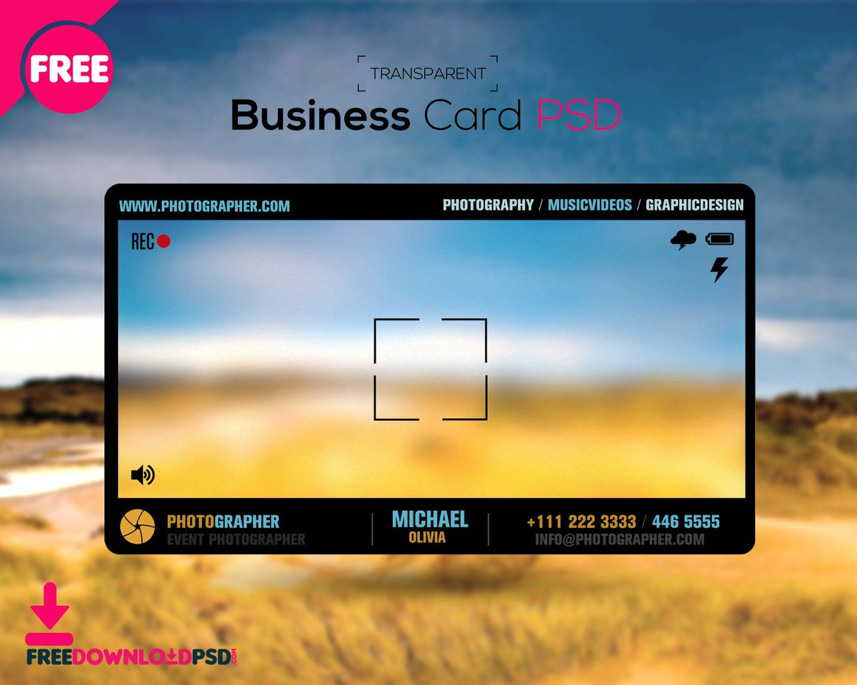 """Free Download PSD on Twitter: """"Free Photographer Transparent Inside Transparent Business Cards Template"""