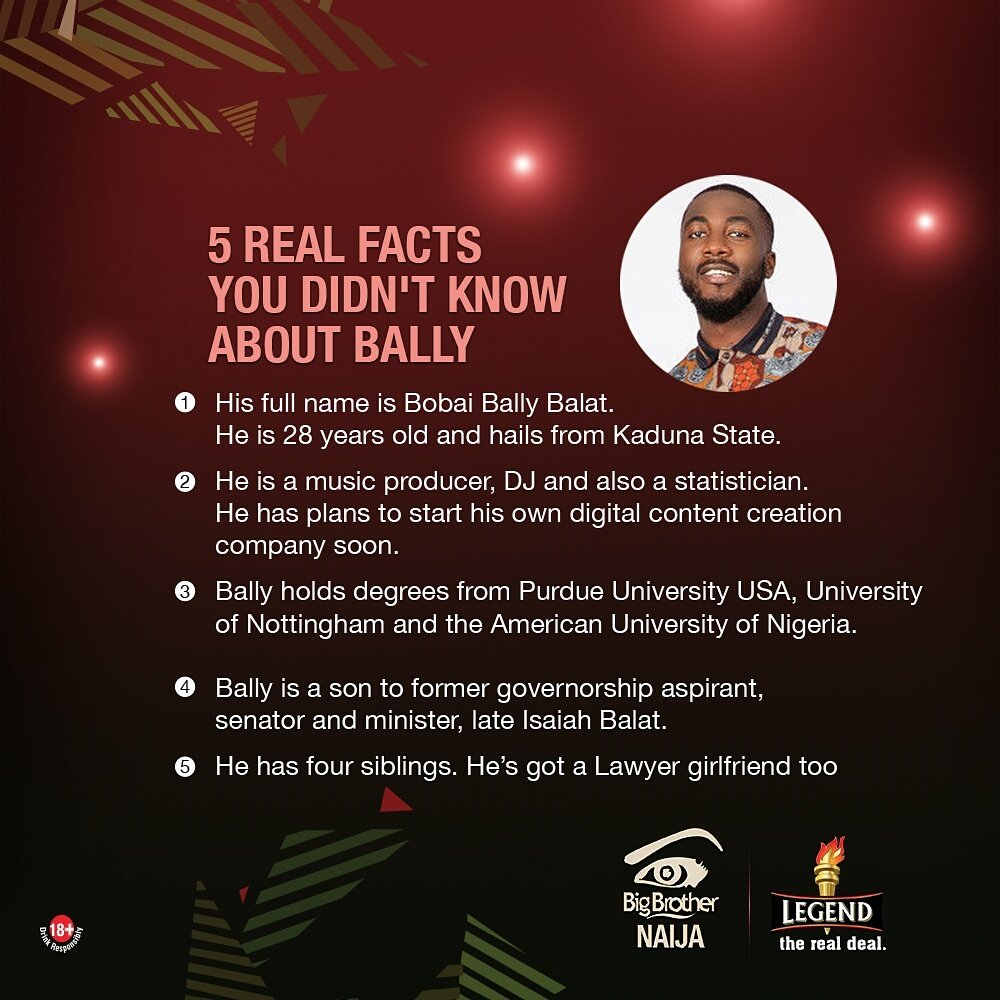 #BBNaija UPDATE; 5 Real facts you never knew about Evicted housemate Bally