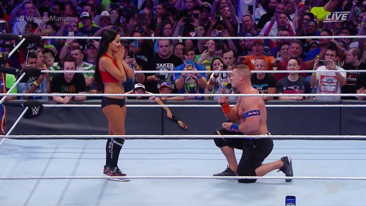 """""""I have been waiting so long to ask you this...WILL YOU MARRY ME?"""" - @JohnCena to Nikki @BellaTwins! #WrestleMania https://t.co/Rmfvtp9biQ"""