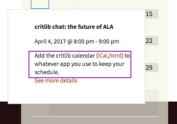 Ooh! #critlib calendar! Thank you! https://t.co/kwpsFAPRq2 [iCal, which Outlook happily added] https://t.co/xVgImsef5i