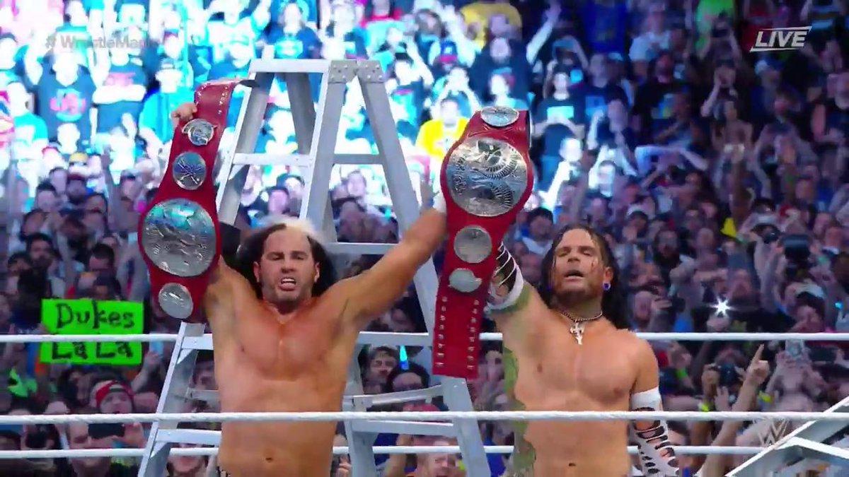 The #HardyBoyz are SEVEN-TIME #TagTeamChampions as @JEFFHARDYBRAND & @MATTHARDYBRAND make a #WrestleMania moment! https://t.co/j0OnLqQWL3