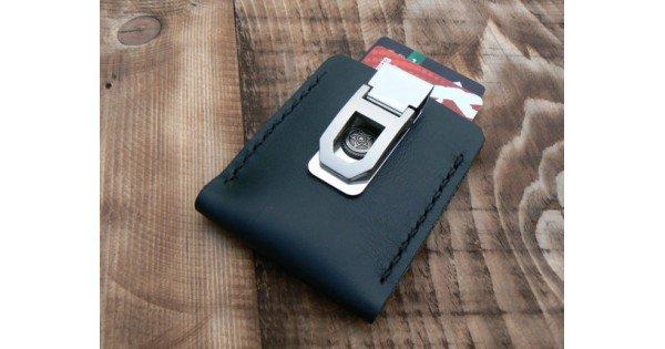 Black flip clip wallet leather money clip Xmas mens gift