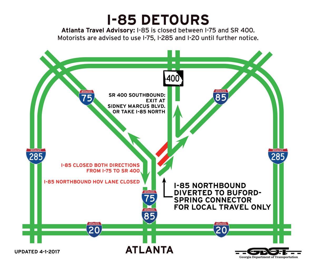 I 85 Collapse Atlanta Map.Atlanta I 85 Collapse Map Detours Road Closures And Alternative