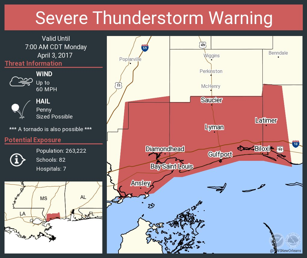 Nws New Orleans On Twitter Severe Thunderstorm Warning Including