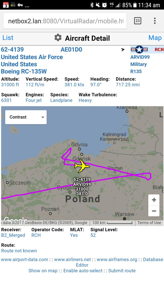 Tracking south of Kaliningrad - USAF RC135W