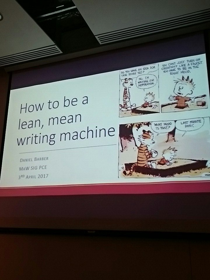 Our first speaker of the day is @BarberDaniel 'How to be a lean, mean writing machine' #MaWSIG https://t.co/HnrzXphBU3