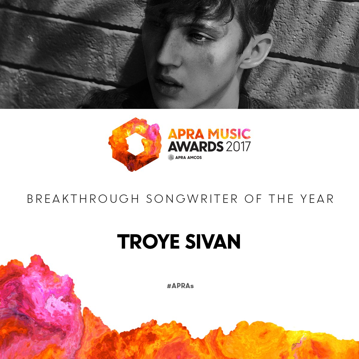 Breakthrough Songwriter of the Year goes to @troyesivan! #APRAs https://t.co/DxPnnzTL4Y
