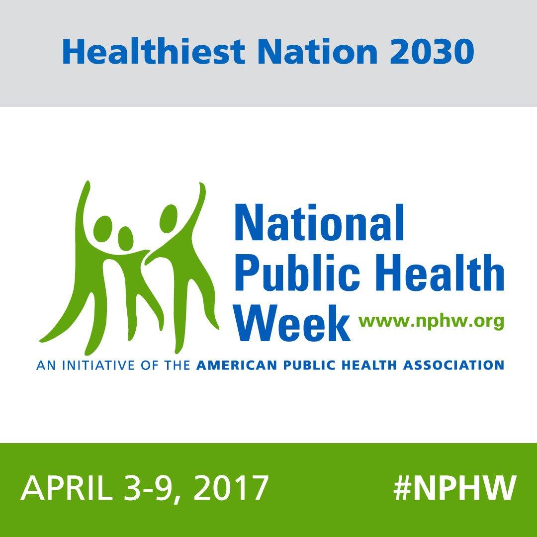 It's National Public Health Week! Join us as we work to build a healthier nation. #NPHW https://t.co/GMITaPM5qb https://t.co/j4xUWajqAC