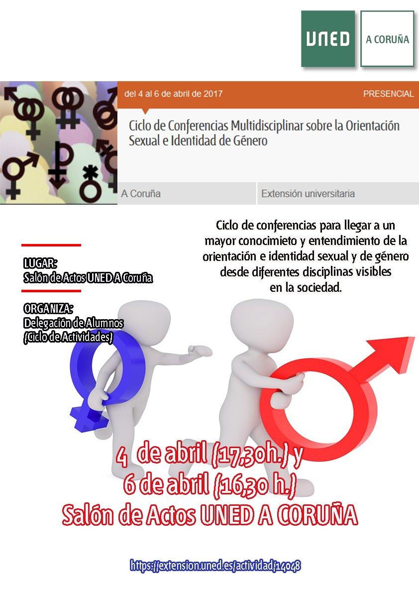 Ciclo de conferencias sobre orientación sexual e identidad de género organizado por la Delegación de Alumnos durante los días 4 y 6 de abril en la sede del Centro Asociado UNED de A Coruña.