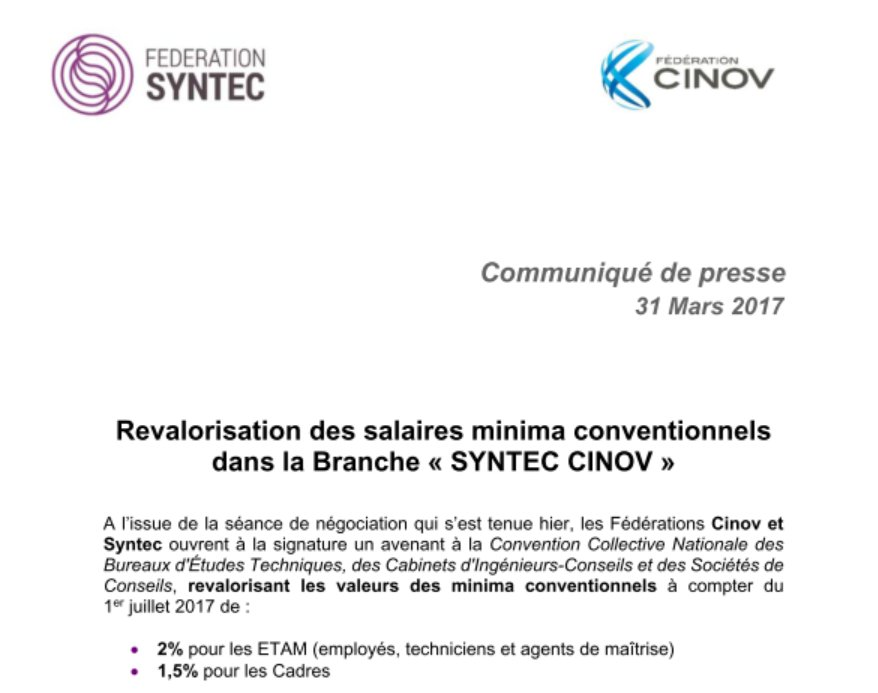 Fdration Syntec on Twitter Revalorisation des salaires minima