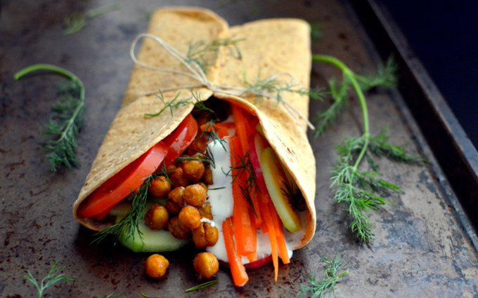 Middle Eastern Roasted Chickpea Wrap [Vegan, Gluten-Free]