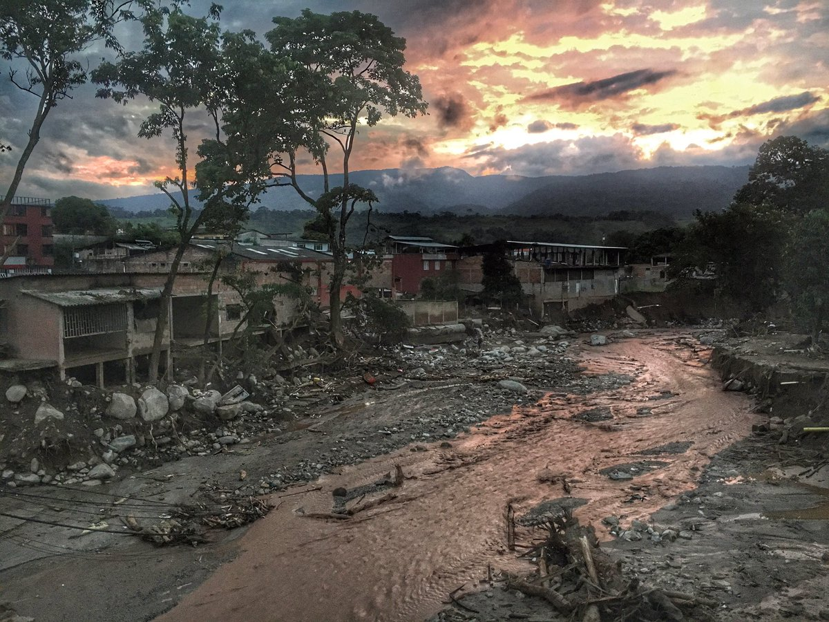 Sunrise in Mocoa, Colombia shows devastation from the mudslides