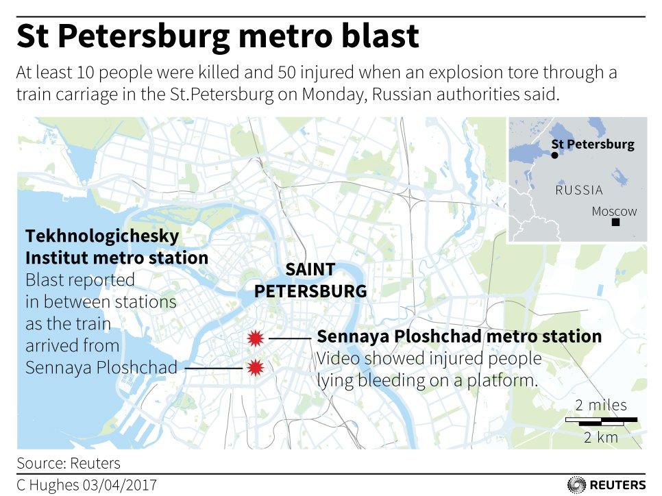 Reuters Uk On Twitter See Map Of St Petersburg Metro Blast And