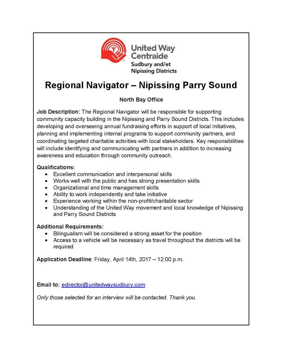 uw sudbury nipissing uwsudnip twitter we are on the search for a regional navigator for our north bay office deadline for applications is 14 2017 at noon