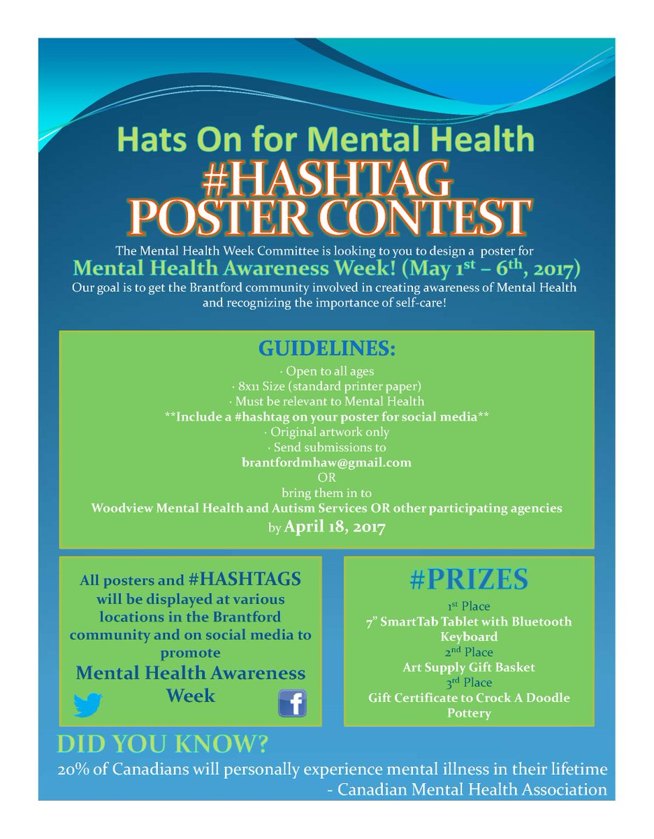 Contact Brant On Twitter Hats For Mental Health Hashtag Poster Contest Design A Awareness Week May 1 6