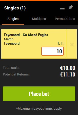 888Sport: Weddenschap Feyenoord - Go Ahead Eagles!