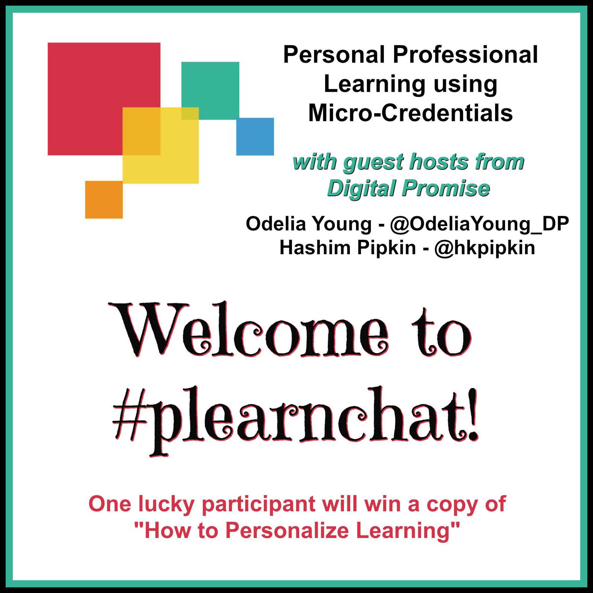 "Welcome to #plearnchat! One lucky participant will win ""How to Personalize Learning""! Please introduce yourself & where you're from. https://t.co/BF3Nnk1qSv"