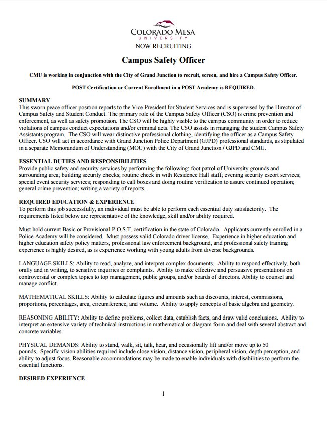 Grand Junction Pd On Twitter Hiring Campus Safety Officer For
