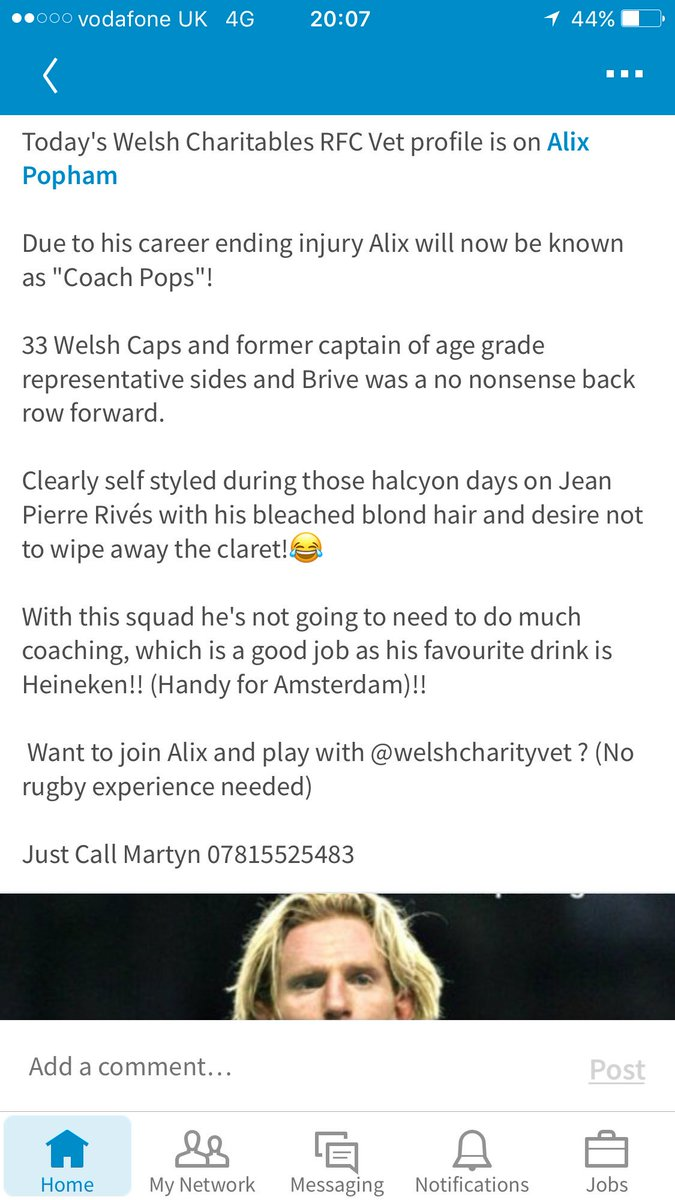 Introducing #Coach @AlixPopham 33 @WelshRugbyUnion Caps You can play &amp; tour with @WelshCharRFC #Vets10 #charity #rugby #socksdown #beer #fun <br>http://pic.twitter.com/iaYundRmdm