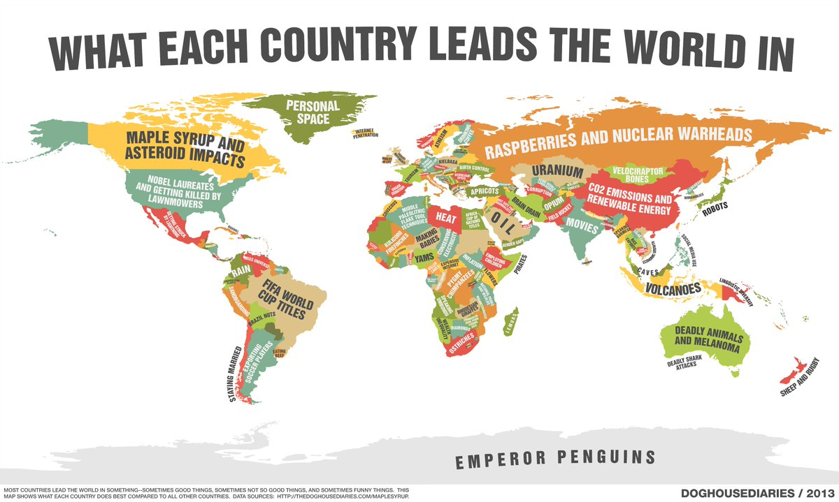 Meanwhile in canada on twitter interesting map of what countries meanwhile in canada on twitter interesting map of what countries lead in from doghouse diaries canada maple syrup and asteroid impacts were 1 gumiabroncs Image collections