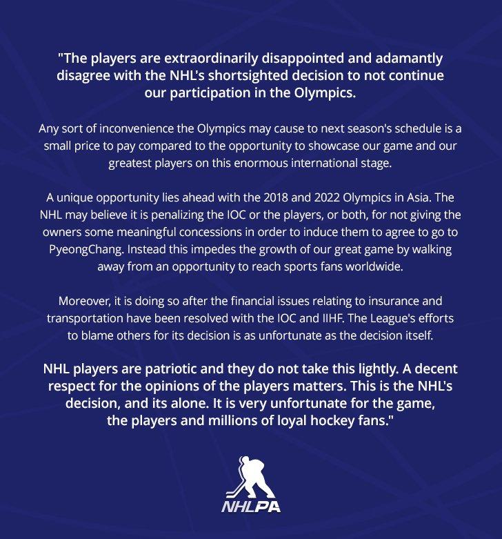 NHLPA statement on NHL's 2018 Olympic Winter Games decision: https://t.co/9AAoDywFpF https://t.co/WatIQHIDkL