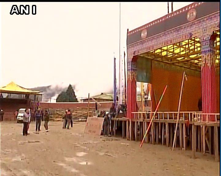 Arunachal Pradesh: Preparations underway in West Kameng district's Bomdila for The Dalai Lama's visit this evening.