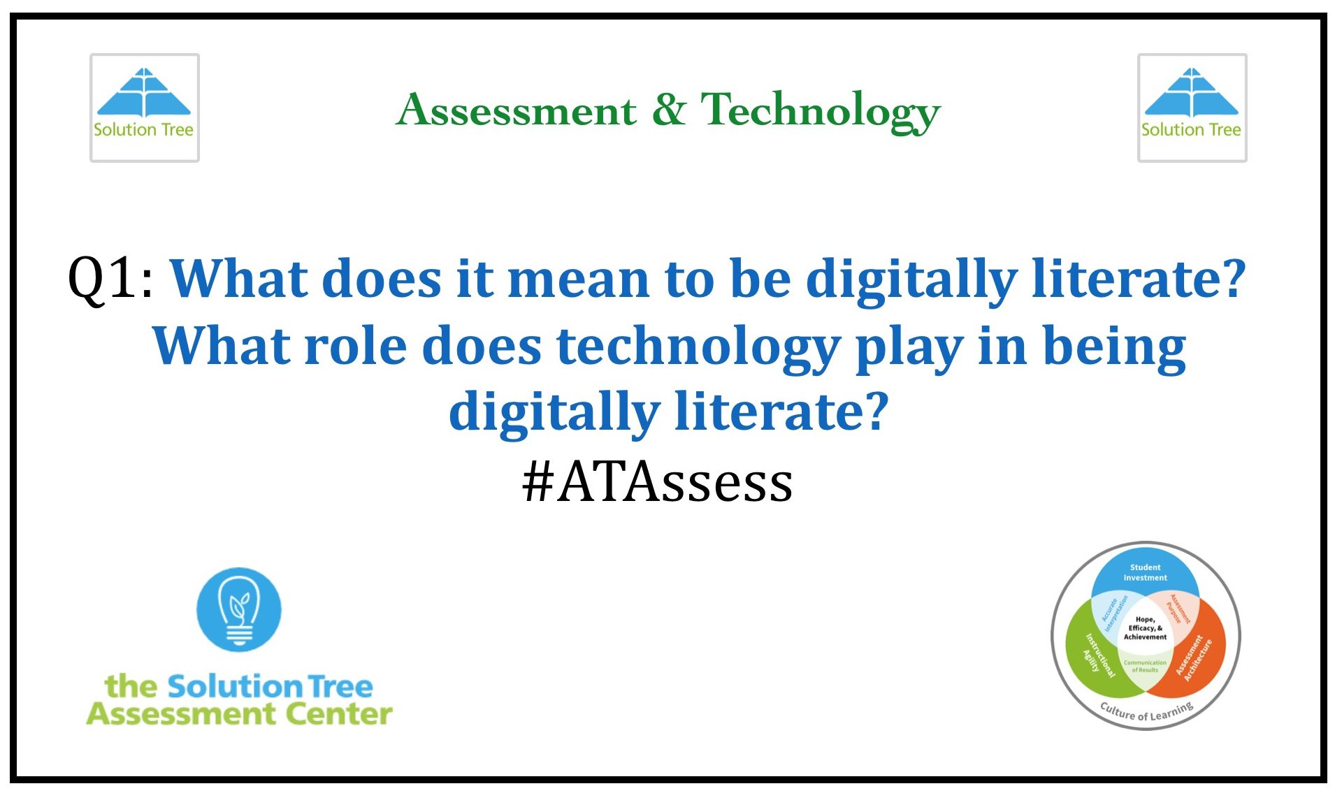 Q1: What does it mean to be digitally literate? What role does technology play in being digitally literate? #ATAssess https://t.co/6W6C9ZJJog