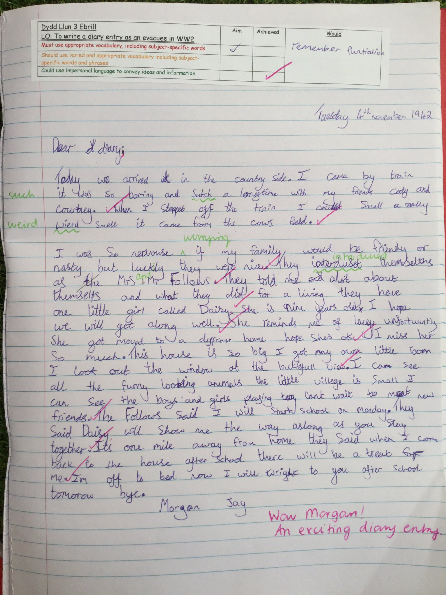 My Mum's Diary as an Evacuee Aged Sixteen Part 1