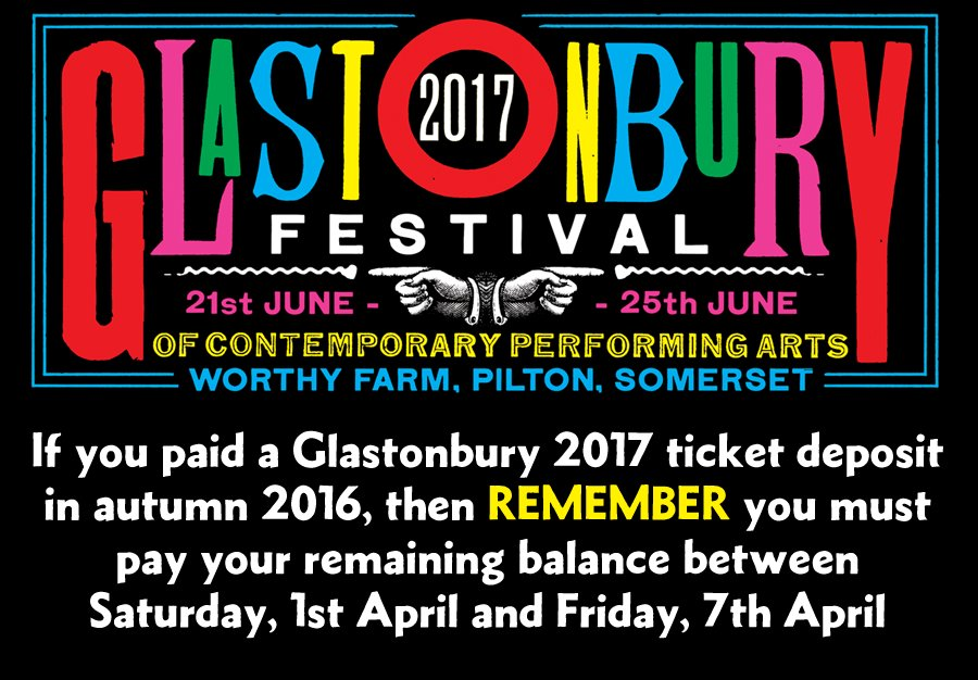 """Glastonbury Twitter: Glastonbury Festival On Twitter: """"Don't Forget To Pay Your"""