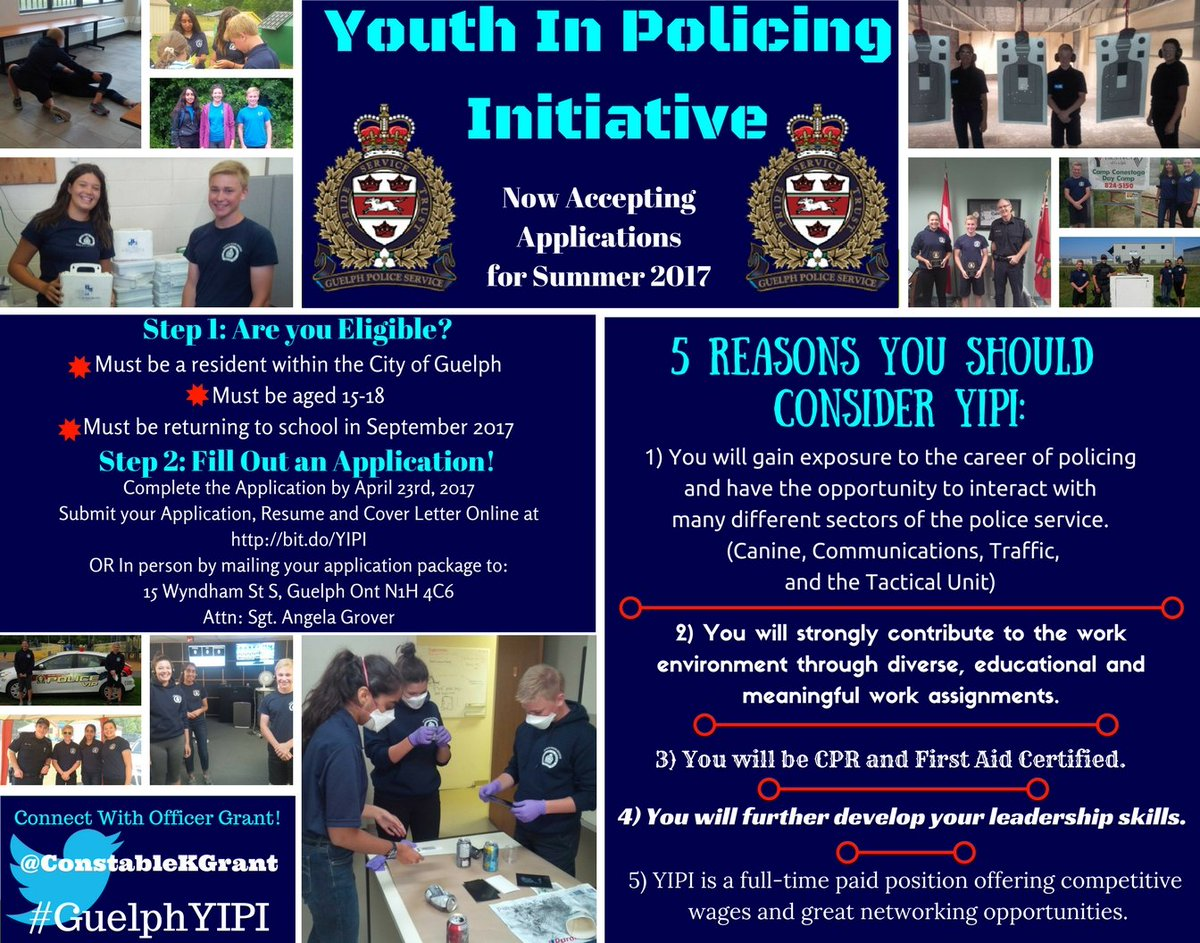 officer kyle constablekgrant twitter hey ugdsb students last chance to apply for the guelphyipi summer job deadline is sunday 23