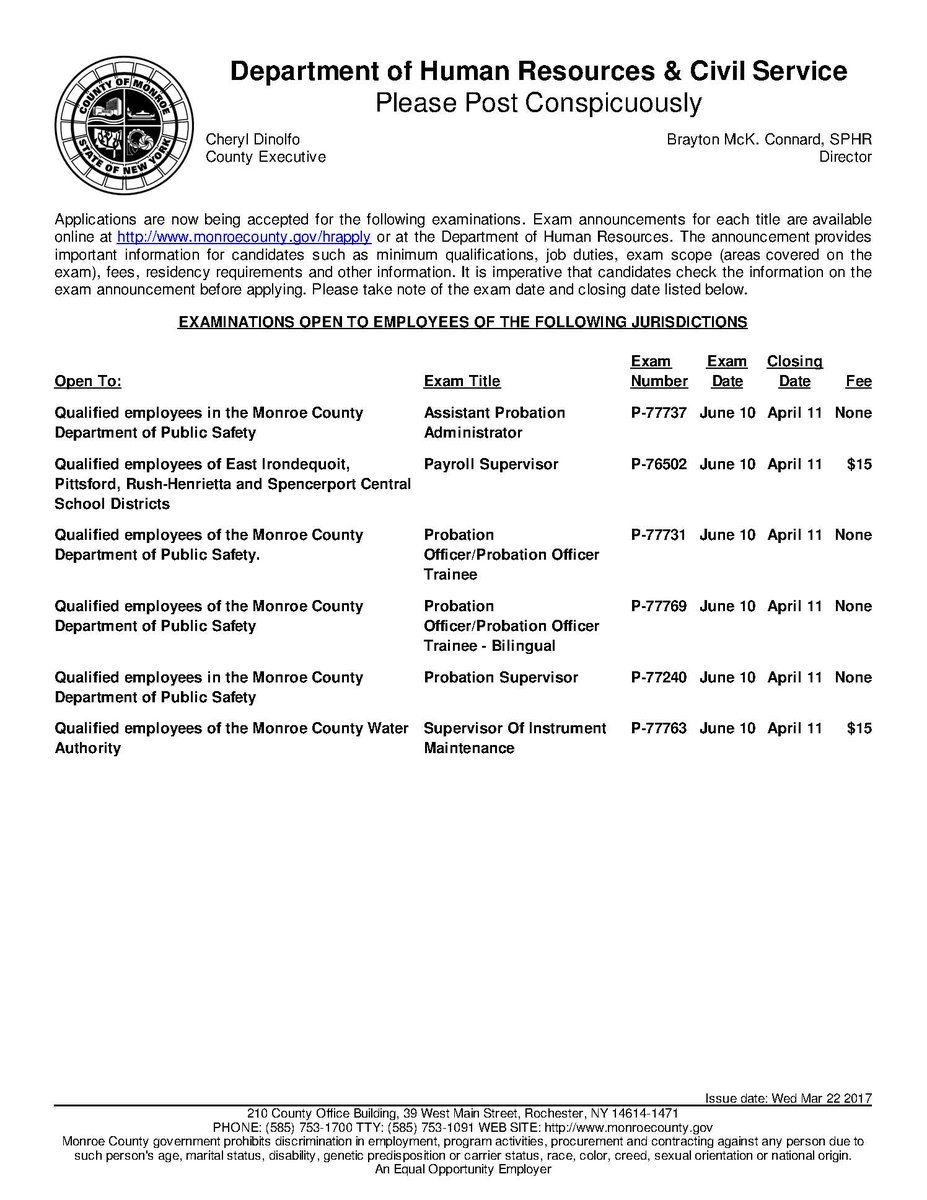 """RochesterWorks! on Twitter: """"The latest Monroe County Civil Service Exams  have been announced. To apply https://t.co/JblOemrqrN #ROC… """""""